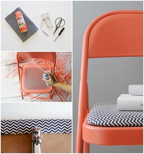 An easy way to revamp any tired old chair! #DIY #Chevron #Orange - those green stools!