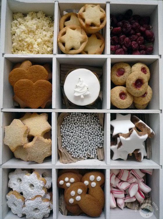 sugar cookies, vanilla stars, gingerbread hearts & mushrooms, mince pies, dried cranberries, peppermints...