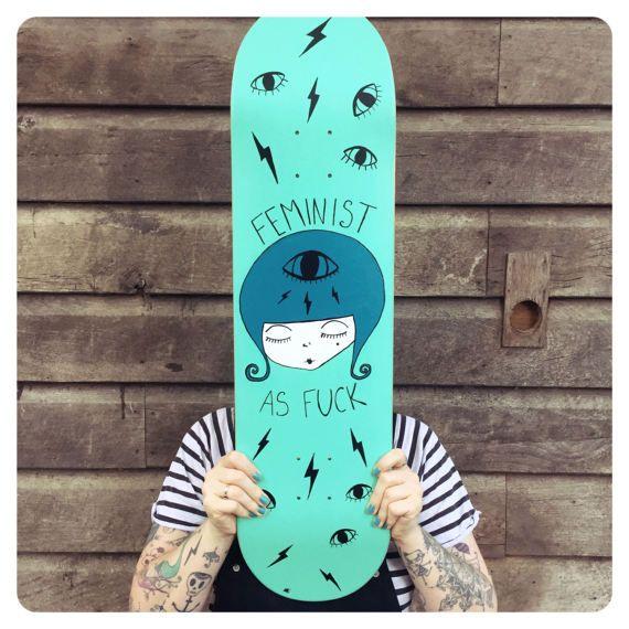 skate deck hand painted feminist art skateboard deck
