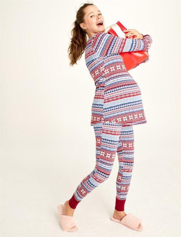 af56cfd7f04dd Ankle Length Maternity Pajama Set, Fair Isle Print | Christmas ...
