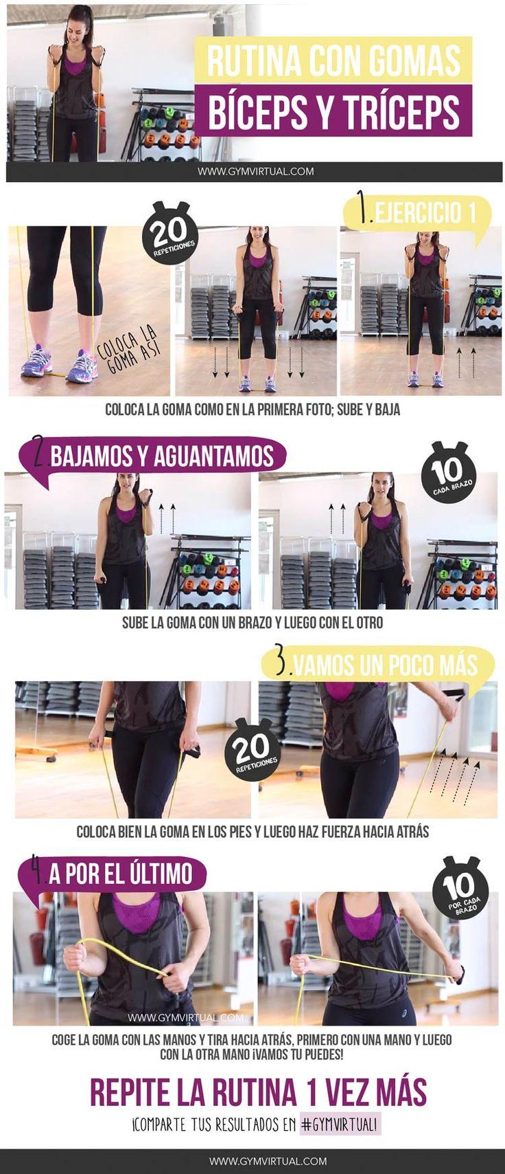 Rutina con gomas para trabajar bíceps y tríceps