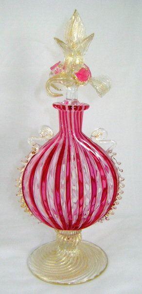 : Venetian Glass, Vintage Perfume, De Perfume, Glass Bottles, Glass Italian, Glass Perfume Bottles