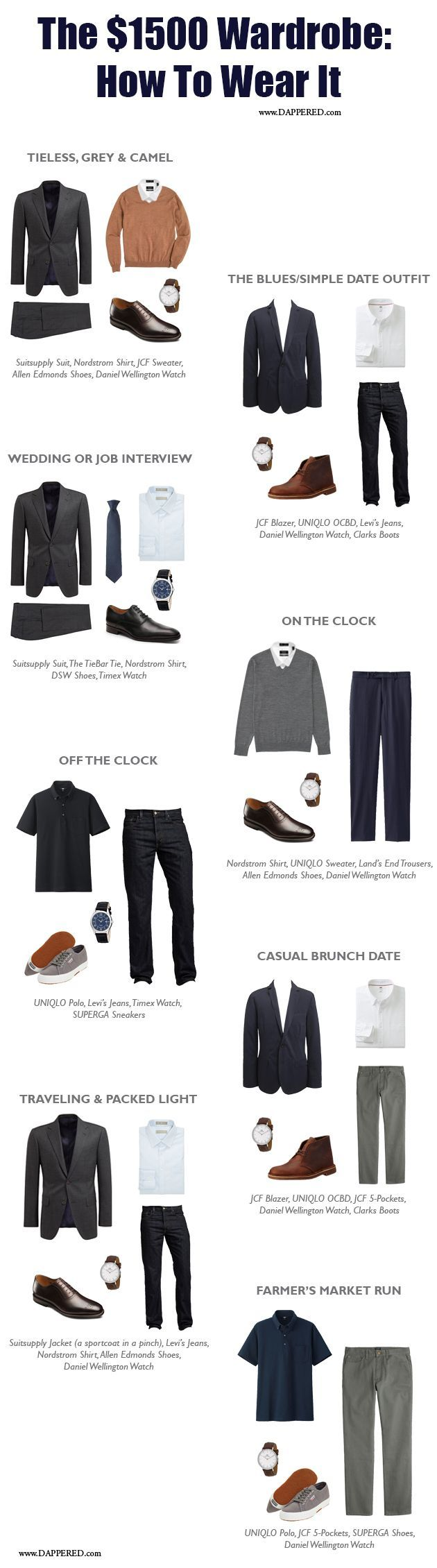 These are all fantastic suggestions from Dappered's $1,500 Wardrobe series. So great! #menswear