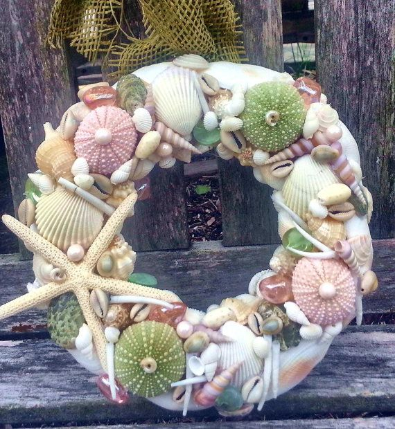 Nautical Decor Sea Shell Urchins and Star Fish Beachy Wreath_$35