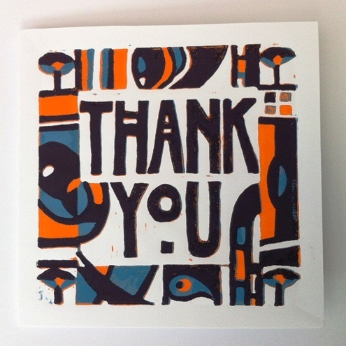 Thank You lino print card (Mackintosh style) - Folksy