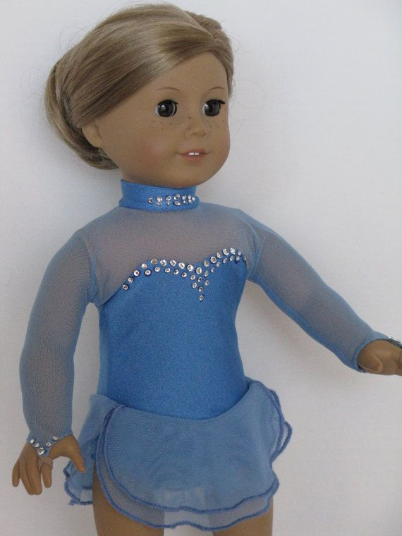 """Crystals on Blue Ice Skating Dress Made to Fit American Girl and other 18"""" Dolls"""