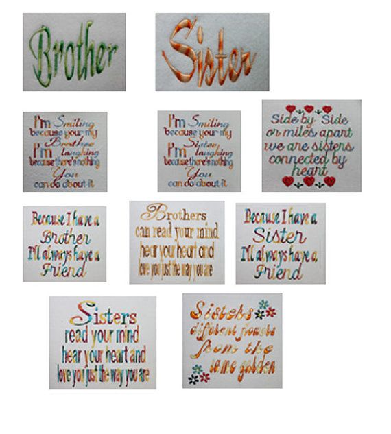 Embroidery sayings sisters design