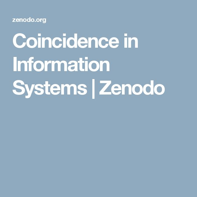 Coincidence in Information Systems   Zenodo
