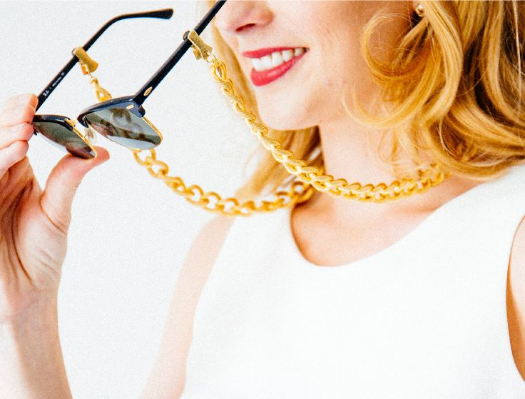veronica deore thick gold chain statement eyewear jewerly // croakies // sunglasses straps // gold chain // glasses