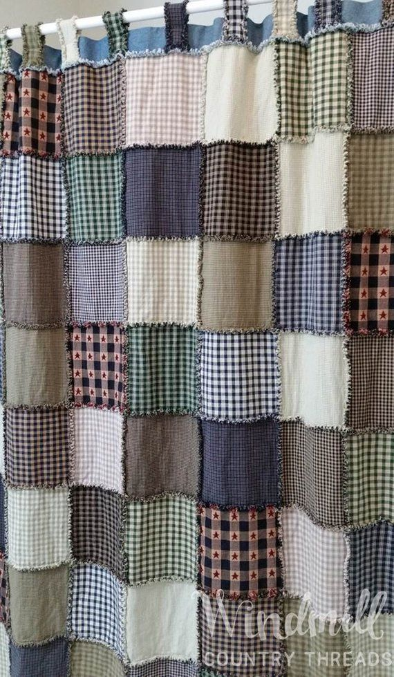 Farmhouse Shower Curtain With Tabs Rustic Country Bathroom Decor