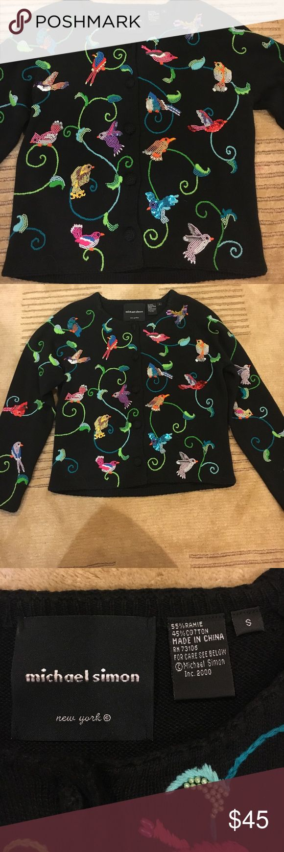 🌸Gorgeous MICHAEL SIMON Beaded Bird Cardigan🌸 Absolutely Beautiful Michael Simon Bird Beaded Colorful Cardigan. Size Small. Will for 4-6. Sweaters Cardigans