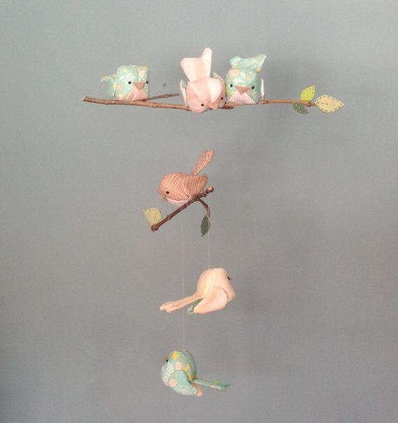 Baby birds mobile in shades of turquoise by PantoufledeVerre