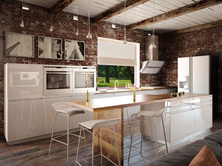 Cuisine industrielle poutres apparentes au plafond et mobilier en blanc laqué