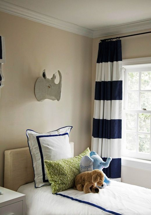 Navy Blue Striped Valances | navy blue striped curtains | Tan walls paired with white and navy blue ...