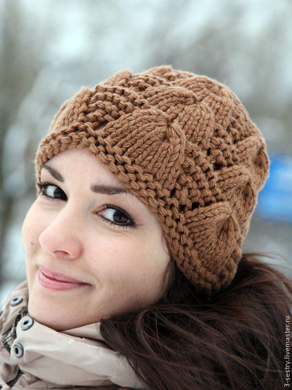 Купить Шапка вязаная женская коричневый бронзовый бежевый шоколадный - шапка вязаная, шапка, шапки
