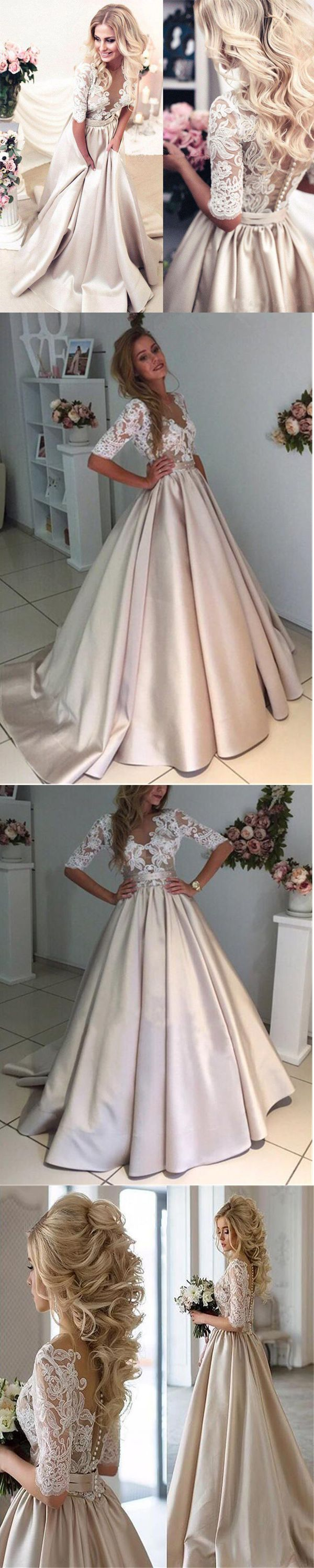 Princess White Lace Half Sleeves V Neck See Through Prom Dresses Evening Dress Party Gowns LD895 #promdress #champagnepromdress #lacepromdress #vneck #halfsleevespromdress