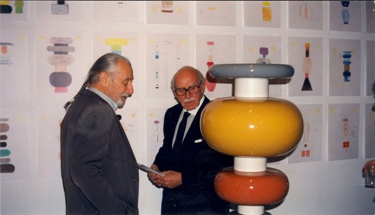 ettore sottsass il minareto | Ettore Sottsass himself and famed ceramicist Aldo Londi at the opening ...