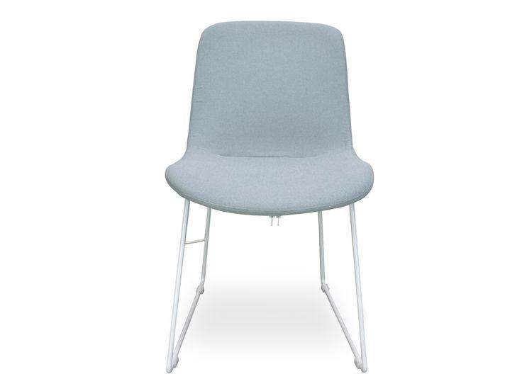 $184 Hemma Dining Chair - Steel Fabric - Replica Furniture by Calibre Furniture