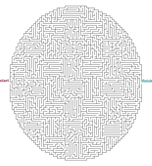 Hard Maze Games to Print | Mazes to Print - Hard Oval ...