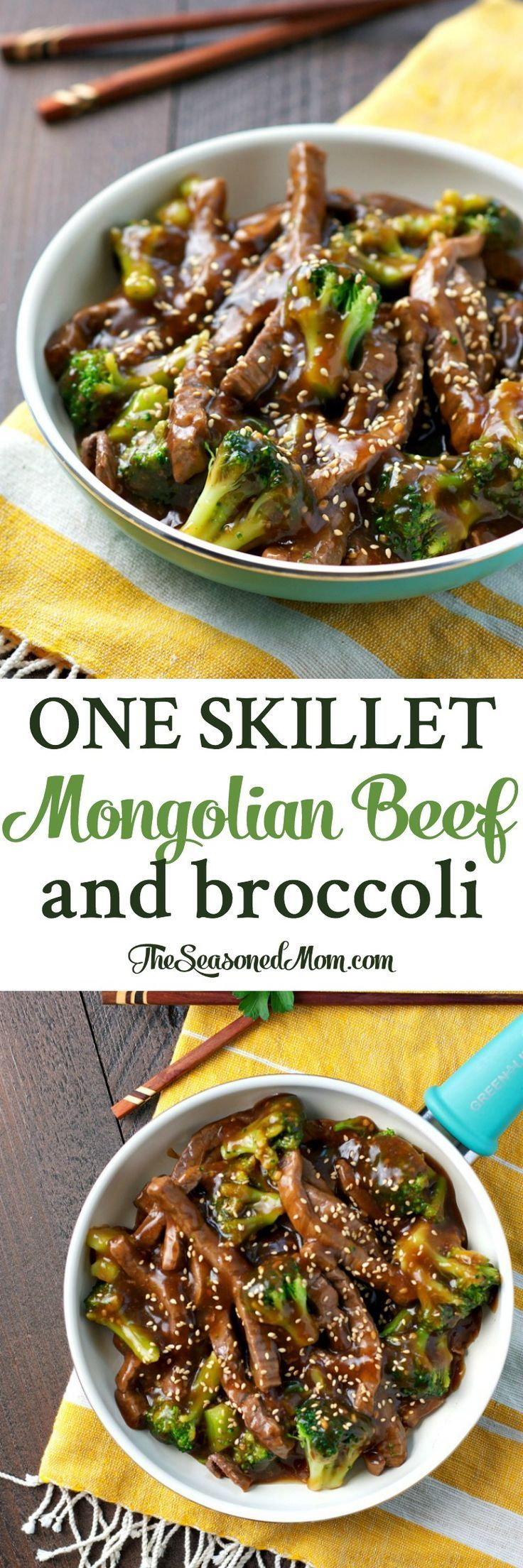 With just one skillet, 20 minutes, and a handful of pantry ingredients, this One Skillet Mongolian Beef with Broccoli is an easy dinner that the entire family will love!