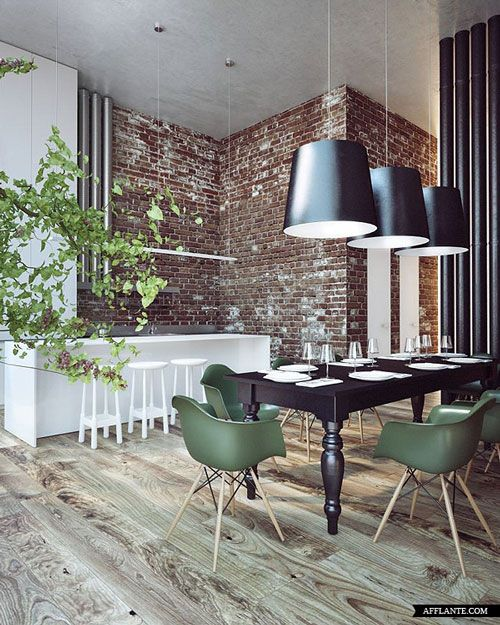 love this space with the brick walls wooden floors and white counters w/black accents