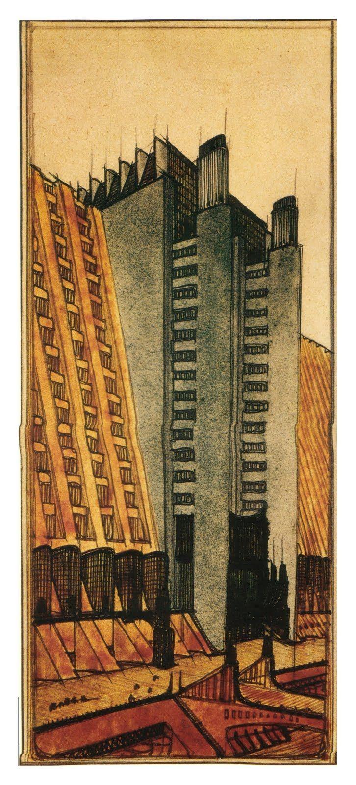FUTURISMO ANTONIO SAINT ELLIÀ CONSTRUCCIONES PARA UNA  METROPOLI MODERNA Concebía al futurismo como arquitectura dinámica en 'movimiento'.  Un espacio arquitectónico ligado al tiempo y los nuevos materiales, de líneas oblicuas, caracterizado por la exposición de los ascensores y escaleras en las fachadas de los edificios dejando al descubierto la estructura.