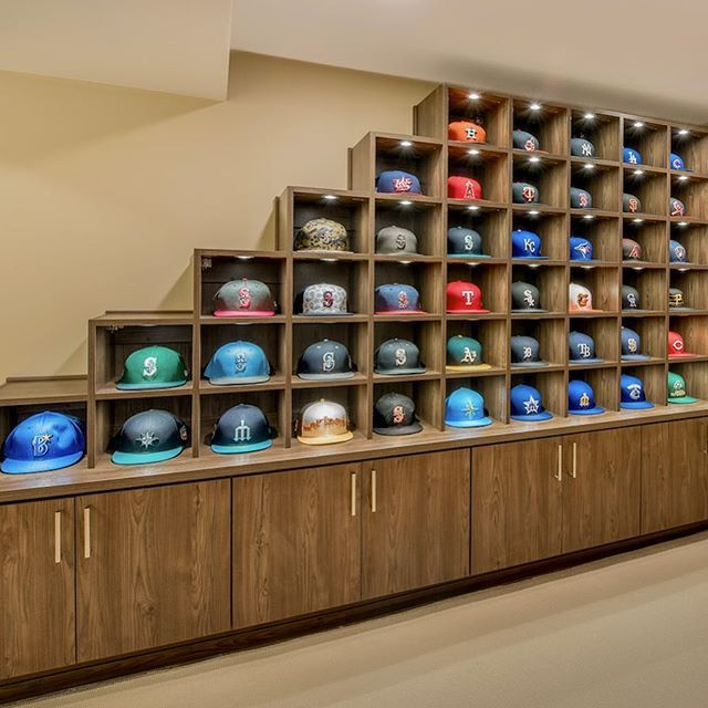 This Clever Baseball Cap Storage Design Hits A True Home Run Sportsfan Hats Ballcaps Sportscollecto Wall Hat Racks Diy Furniture Building Ball Cap Storage