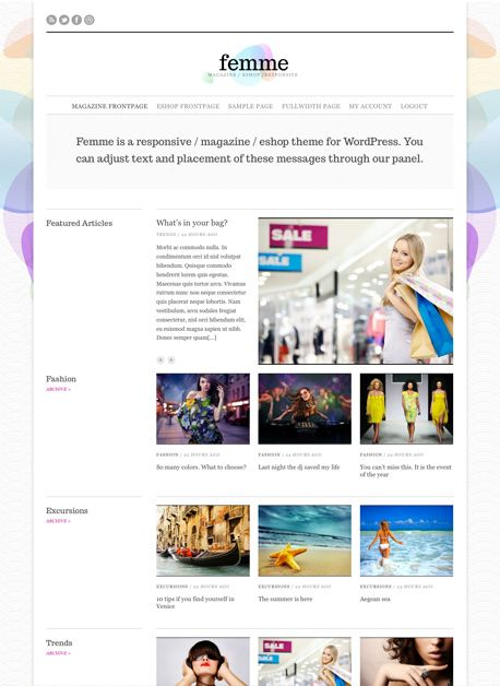 Femme- Advanced Responsive Magazine / eCommerce WordPress Theme