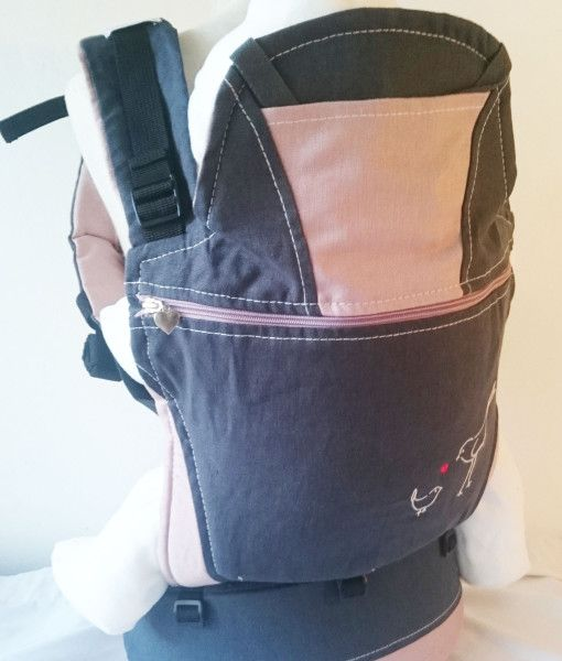 Organic charcoal and pink baby carrier