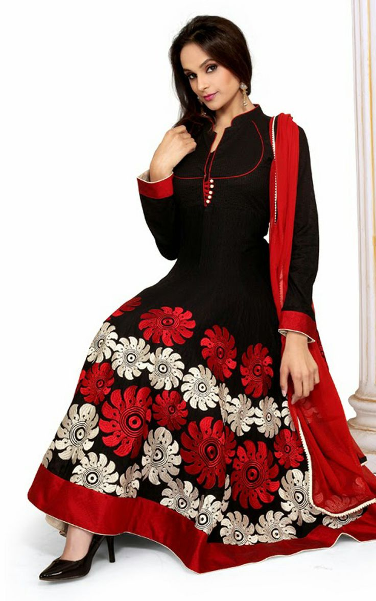 BLACK & RED COTTON ANARKALI SALWAR KAMEEZ - DIF 29710