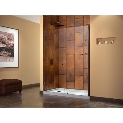 Frameless Hinged Pivot Shower Door In Oil Rubbed Bronze With Handle