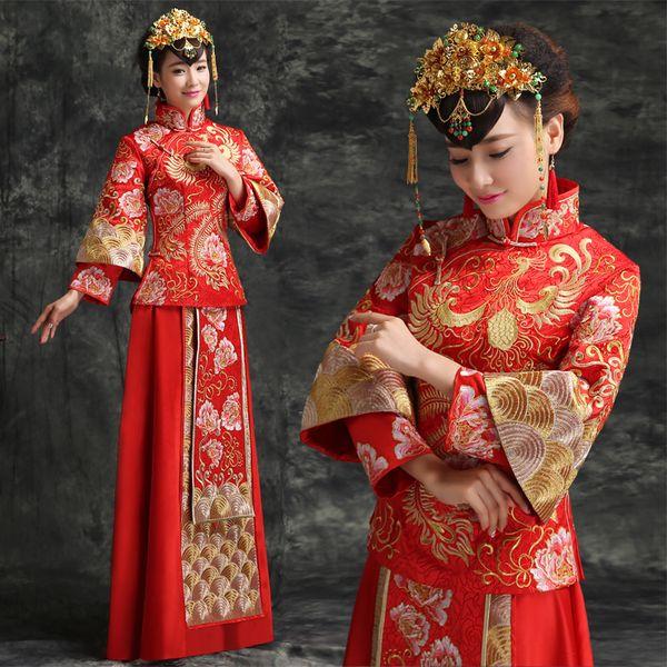 秀禾服新娘中式婚纱礼服2015新款复古婚礼结婚敬酒服秀和服龙凤褂