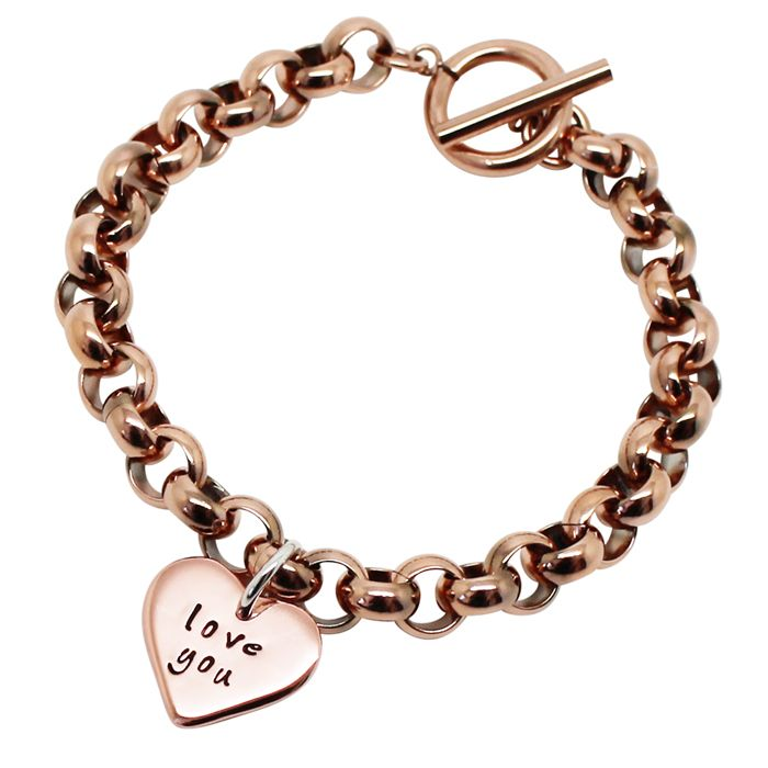 Give your love a special personalised gift with the Personalised 9K Gold Love Heart Chunky Bracelet.Get it hand stamped with your initials, name, or a short phrase such as Love you.This beautiful bracelet comes in a silver foiled gift box and is handmade in Australia.Dimensions: Love heart pendant: Pure 9K Rose, White or yellow GoldThickness: 1.1mmWidth: 2cmHeight: 1.7cmToggle Chain: Stainless Steel (Rose, Silver or Yellow Gold PlatedLength: 19cmThickness...