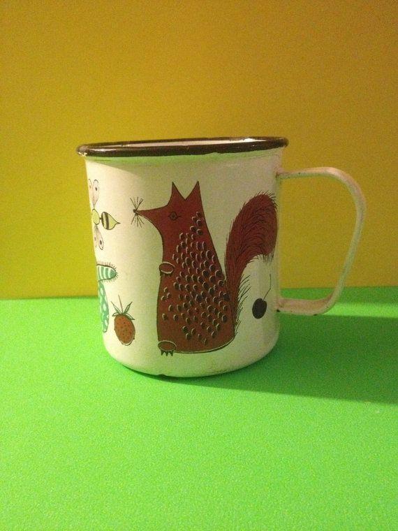 RARE Finel Finland Kaj Franck Scandinavia Enamel Mug Animals Cat Mouse Pig Tin Cup Modernist on Etsy, $65.99