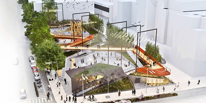 Downtown Vancouver's newest park will be a showstopper when it opens in 2019. The space features a suspended walkway, water feature and café.