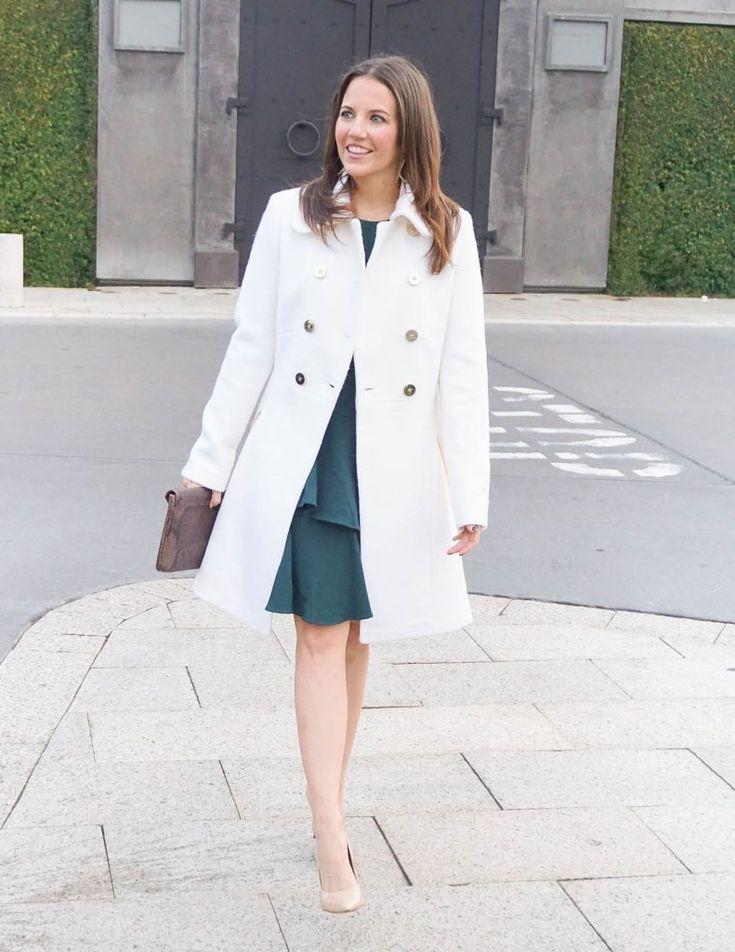 Winter Outfit | Ivory Wool Coat | Teal Dress | Houston Fashion Blogger Lady in Violet #winteroutfit #woolcoat