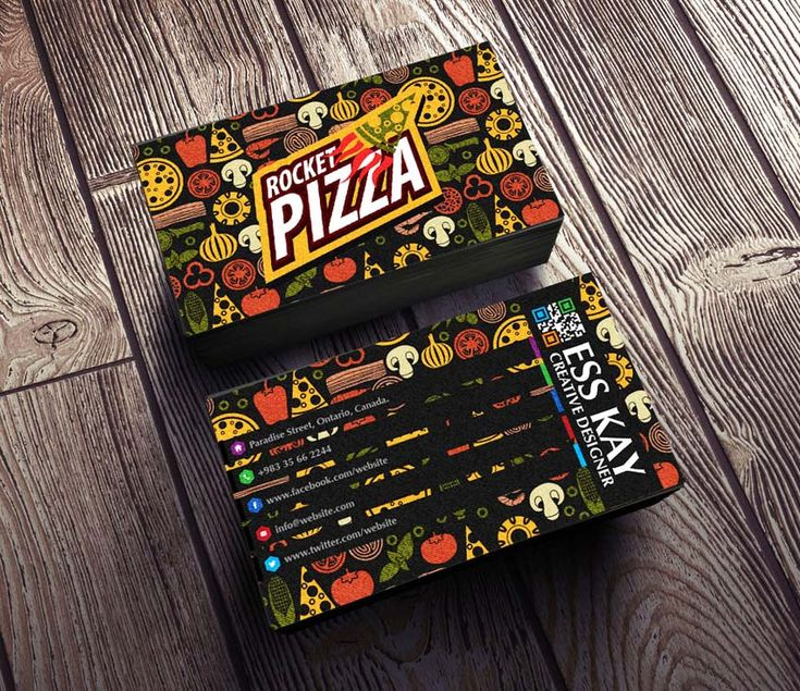 Free Rocket Pizza Vintage Business Card with QR Code 2015