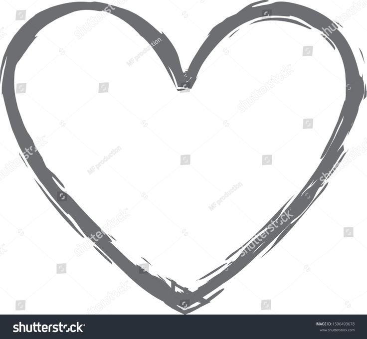 Gray heart contour vector hand drawn love icon isolated