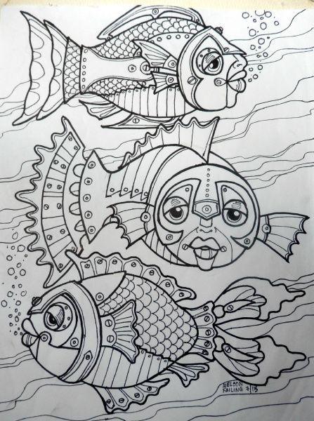 Steampunk Fish Adult Coloring Fun Pinterest