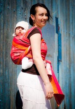 Baby Wrap, Jacquard Weave (100% cotton) - Cherry Lace - size XS - LennyLamb.com