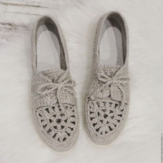 Обувь ручной работы. Мокасины льняные
