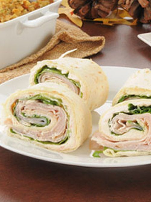 Turkey Pinwheel Appetizers - flour tortillas, turkey, cream cheese, baby spinach, and roma tomatoes