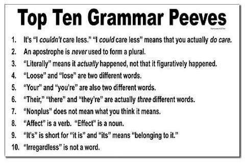 Top Ten Grammar Pet Peeves...I'm such a grammer Nazi!