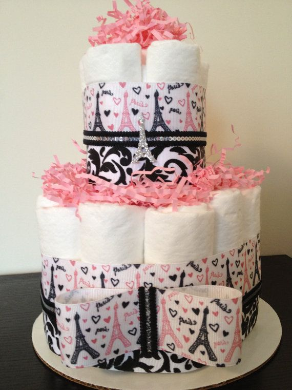 Items Similar To Mini 2 Tier Pink Damask Paris Diaper Cake, Girl Baby Shower,  Paris Baby Shower, Baby Shower Centerpiece, Pink Damask Baby Shower On Etsy
