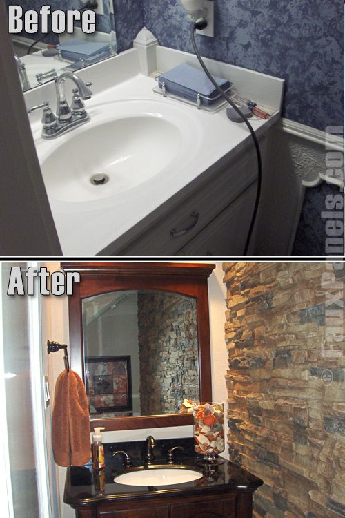 Faux stone works beautifully in a bathroom because it resists moisture and adds a natural look.   http://www.fauxpanels.com/img_c/4-regency/design/154.jpg