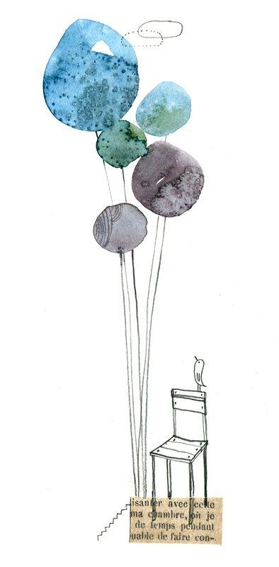 chaise, aquarelle, cécile hudrisier