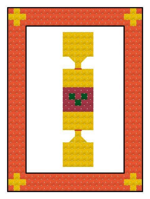 Free cross stitch advent calendar pattern, Christmas cracker
