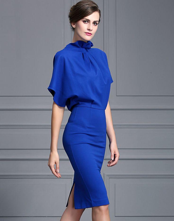 #AdoreWe BAOYAN Royal Blue Batwing Sleeve Luxe Look Sheath Midi Dress - AdoreWe.com