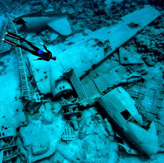 Diving on an underwater plane wreck. #images