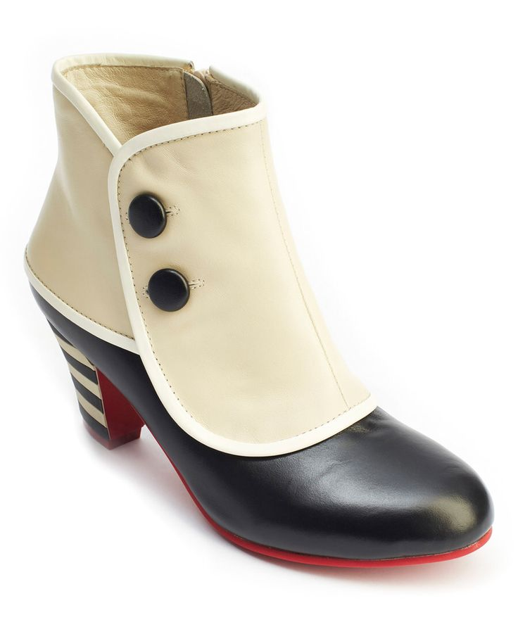 Look at this Lola Ramona Black & Cream Elsie Leather Bootie on #zulily today!